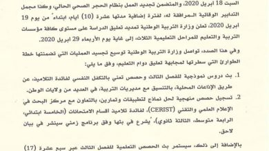 Photo of وزارة التربية تعلن تمديد تعليق  الدراسة إلى غاية يوم الأربعاء  29 أفريل 2020 .