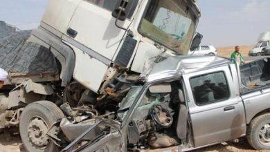 Photo of هلاك 4 أشخاص إثر اصطدام بين شاحنة وسيارة بالطريق الوطني رقم 10 ببلدية بوحاتم بميلة
